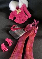 Beautiful Barbie pink Velvet fur trim top Plaid pants shoes and bag