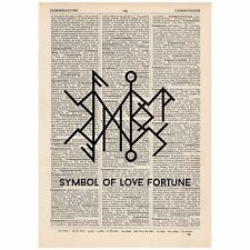 Rune Symbol of Love and Fortune Word Art Print OOAK, Quirky, Alternative,