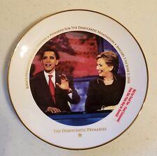 Barack Obama Hillary Clinton 2008 Democratic Primaries Commemorative  Plate