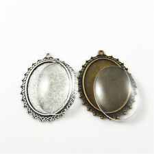 Zinc Alloy Retro Silver&Bronze Oval Cameo Base With Glass Covers Pendants 2 Sets