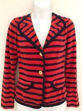 CAbi #224 Women Au Revoir Blazer Jacket Sz S Red Navy Striped Nautical Buttons