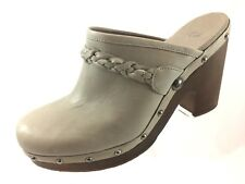 SH29 Ugg Women US 11 Kaylee Taupe Braided Leather Studded Mules Clogs Shearling
