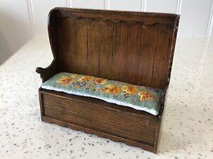 Dolls house miniature 1:12 HANDMADE monk's bench + needlework cushion