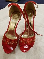 Brand New Lovely Ladies Red  High Heel Shoes Size 6 by Via Giulia Excellent