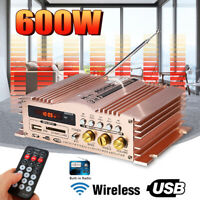 600W Mini Audio Stereo Amplifier FM Radio MP3 USB SD for Home Car Motorcycle 12V