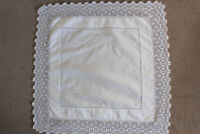 Vintage square white linen cloth with white embroidery and crochet edges.