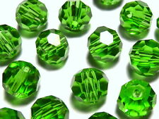 50Pc 4mm Austrian Fine Cut 5000 Faceted Round Beads - Periodot Green