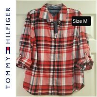 NWT Tommy Hilfiger Women's Plaid Cotton Flannel Button down Shirt Red Size M