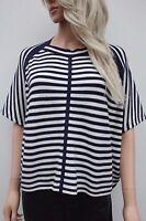 Karen Millen Blue Graphic Stripe Sweater Jumper Top Knitted Wool Pod 10 to 12