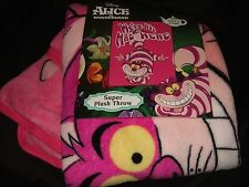 Alice In Wonderland Cheshire Cat Were Mad Here Plush Fleece Throw Blanket Disney