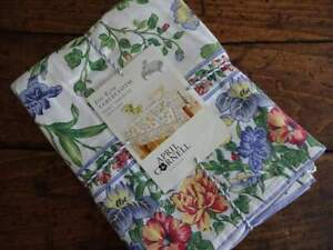 APRIL CORNELL Blue IRIS ECRU Multi FLORAL Cotton TABLECLOTH