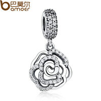Sparking Authentic S925 Sterling Silver Flower Charm Fit European Bracelet Chain