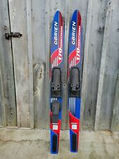 Pair of O'brien 170 Traditional Water Skis Single Double Red White Blue Solo