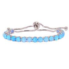 Blue Fire Opal Fashion Party Silver Women Jewelry Gemstone Chain Bracelet OS592