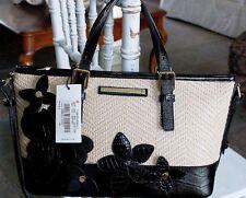 Brahmin Mini Asher Black Miramonte RAFFIA FLORAL satchel crossbody new NWT $285