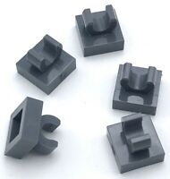 Lego 5 New Dark Bluish Gray Tiles Modified 1 x 1 with Open O Clip Parts