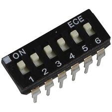 2 ECE EAH-106-EZ DIP-Schalter 6-polig IC 24V DC 25mA DIL Switch RM 2,54 855903