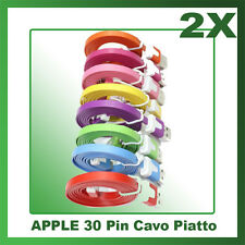 2X Cavo (Cavetto) Dati 30 PIN PIATTO PER APPLE NOODLE per Iphone 3/3G/4/4S iPad
