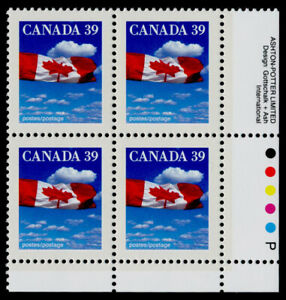 Canada 1166i BR Plate Block MNH Flag over clouds