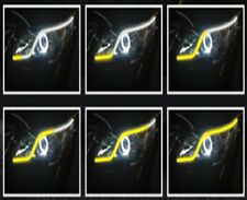 2X BIANCO AMBRA SEQUENZIALE 45cm STRIP LED DECORATIVA FARO STRISCIA DRL 12V