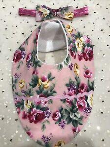 Au Made Shabby Pink Roses/headband Set Baby Girl Dress Bib Set Handmade BNWT