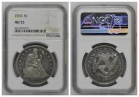 NGC U.S. Seated Liberty 1870 $1 One Silver Dollar AU55