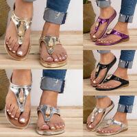 Women Summer Sandals Shoes Thong Flip Flops Flat T-Strap Casual Beach Slipper