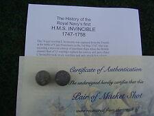 UN BOXED Flintlock Double Musket Ball from 1758  HMS Invincible ShipWreck