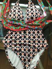 Trina Turk Mocha Venice Beach Cross Back One Piece Swimsuit Size 6/8 S Bright EX