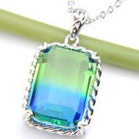 "Rectangle Jewelry Gift Olive Peridot Gemstone Silver Woman Necklace Pendants 1"""