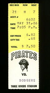 BARRY BONDS 1ST HIT GAME TICKET STUB 5/31/1986 PIRATES vs DODGERS RARE