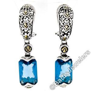 Sterling Silver & 14k Gold Faceted Rectangular Blue Topaz Drop Dangle Earrings