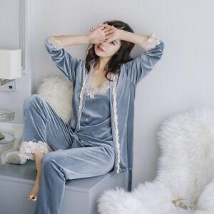 3pcs Women Lace Soft Nightwear Top+Pants Velvet Pajamas Sets Sleepwear Underwear