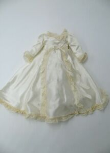 "Vintage White Satin Bridal Gown for 14"" Hard Plastic Doll"
