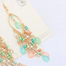 1Pair Women Charm Bohemian Colorful Beads Ear Drops Dangle Tassels Earrings