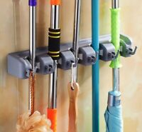 Mop Holder Hanger Home Kitchen Storage 5 slots Broom Organizer Wall Mounted