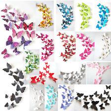 12 Pzs 3d PVC mariposas Bricolaje PEGATINA DECORACIÓN PARA EL HOGAR PARED