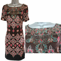 MONSOON Brown Print Embellished Silk Short Sleeve Casual Tunic Dress UK 12  EU40