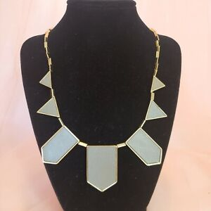 House of Harlow 1960 Tan Leather Gold Plated Statement Bib Necklace Chic Jewelry