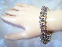 Vintage Monet Bracelet Unisex Silver Tone Heavy Chain