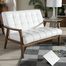 Modern Retro Mid Century Design Small Loveseat Bench White Faux Leather New