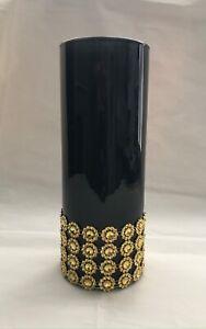 CYLINDER GLASS VASE BLACK  VARIOUS TYPES OF ELEGANT TRIMS