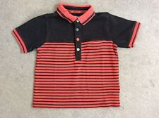 M&S RED & BLACK STRIPED POLO T.SHIRT WITH COLLAR & OPEN NECK - 3-4y