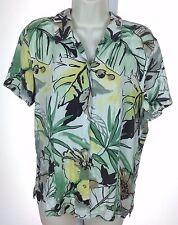 Women's Caribbean Joe Multicolored Floral Silk Blend Button-Front Blouse Sz L