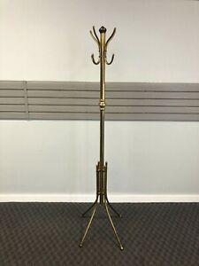 Vintage BRASS COAT RACK Hollywood Regency gold metal hall tree hanger stand 60s