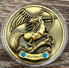 My Zodiac Coin - SAGITTARIUS - Swarovski® Crystals, 3D, Glow-In-The-Dark - Gold