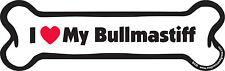 "Dog Magnetic Car Decal, Bone Shaped, I Love My Bullmastiff, Made in Usa, 7"""