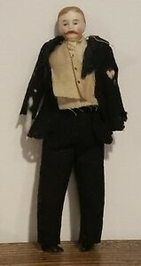 Bisque Dollhouse Doll Moustache Man Antique molded hair original clothes 6""