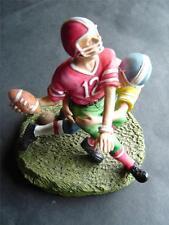 "Ceramic Football Players Figurine Statue on Green Base 4 1/2"" Tall"
