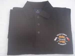 SCOTLAND GOLF POLO SHIRT  BLACK OLD COURSE ST ANDREWS